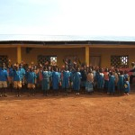 Pupils outside the newly built school in 2007