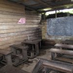 Inside one classroom at CS Idenau - much of the wood eaten by termites.